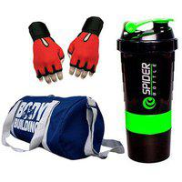 Snipper Combo Of Bodybuilding Blue Bag Gloves Red And Spider Shaker Green Gym Fitness Kit ()