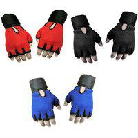 Snipper Combo Of Heavy Leather Netted Gloves With Wrist Support(pack Of 3 Pair Gloves) Gym Fitness Gloves (free Size Red Black Blue) ()