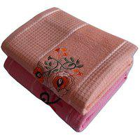 Pyaro Hifi Cotton Bath Towel Set - Combo Of 2 (orange Pink)