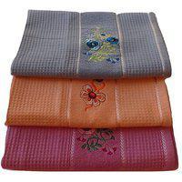 Pyaro Hifi Cotton Bath Towel Set - Combo Of 3 (blue Orange Voilet)