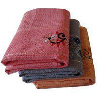 Pyaro Hifi Cotton Bath Towel Set - Combo Of 3 (blue Orange Pink)