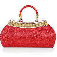 Lady Queen Women's Red Ethnic Designer Handcrafted Silk Party Hand held bag