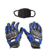 Combo Pack For Pro Biker Gloves Blue-m plus Pollution Mask-black