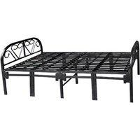 Sahni Folding Single Bed In Mild Steel - Black Color Strong Portable Easy To Use 150kg Load Capacity