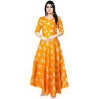 Frionkandy Sanganeri Jaipuri Print Rayon Orange A- Line Dress - (shku1050-orangefree