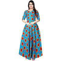 Frionkandy Sanganeri Jaipuri Print Rayon Turquoise A- Line Dress - (shku1070-turquoisefree Size)