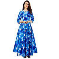 Frionkandy Women's Designer Leaf Printed Rayon Blue Full Length Maxi Dress - (free