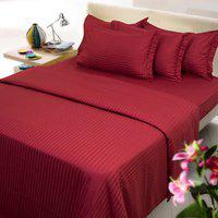 Mark Home Maroon Color Cotton Bed Sheet With Two Pillow Covers