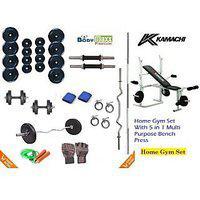 60 Kg Kamachi Home Gym Package plus 4 Rods plus Multi Bench plus Gloves plus Rope plus Wt Plates