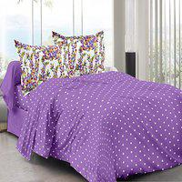 Welhouse Purple Polka Design 100 Organic Double Bedsheet With 2 Contrast Pillow Cover-best Tc-175