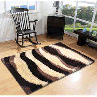 Furnishingland Brown Colour Abstract Shaggy Carpet