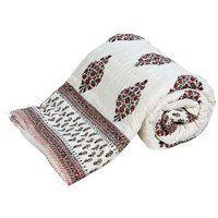 Krg Enterprises Floral Double Quilts Comforters Multicolor Jaipuri Razai Double Bed Quilt