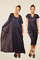 Clovia Women's 4 Pcs Satin Nightwear In Navyrobe, Nightie, Top, Capri (snm236g08_blue_free