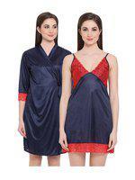 Clovia Women's Satin Short Nighty & Robe (NSM294T08_Blue_Free-Size)