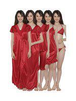 Clovia Women's 7 Pc Satin Nightwear Set (ns1186p09$p_red_free