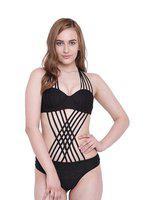 La Intimo Women Black Solid Swim Bikini Set Lif1p004bk0