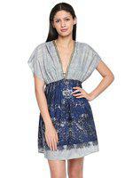 Oxolloxo Grey & Blue Printed Mirror Spring Beach Dress