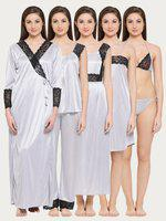 Clovia Women's 7 Pc Satin Nightwear Set (ns0564p01_grey_free