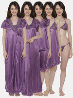 Clovia Women's 7 Pc Satin Nightwear Set (ns1186p12_purple_free
