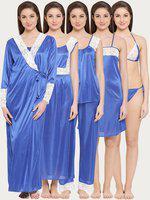 Clovia Women's 7 Pc Satin Nightwear Set (NS0564A08_Blue_Free Size)