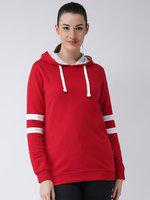 Club York Women Red Solid Hooded Longline Pullover Sweatshirt