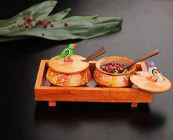 Craftbell Wooden Orange Tray Jar Set With Two Handi And Cute Parrots