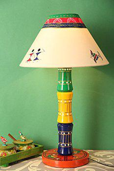 Craftbell Glossy Wooden Hand Painted Decor Table Lamp For Decorative Gift Item
