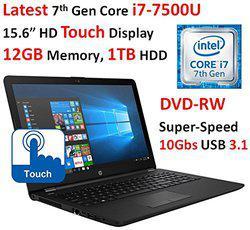 2017 Newest HP 15.6-inch HD Touchscreen WLED-Backlit Display Laptop PC, Intel Dual Core i7-7500U 2.7GHz Processor, 12GB DDR4 SDRAM, 1TB HDD, Bluetooth, HDMI, HD Graphics 620, DVD Burner, Windows 10