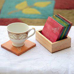 Craftbell Multicolured Parrot Carving Wooden Tea Coasters Set - Wooden Table Coaster / Tea Coffee Coaster / Mug Coaster / Tableware Table Top / Decorative Table Accessories / Coaster for Table Top / Wooden Coaster Set / Trivet Set / Diwali Gift Items