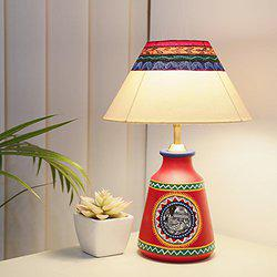 Craftbell 'Madhubani In Light' Hand-Painted Tapered Terracotta Table Lamp In Red - Indoor Lighting / Home Decorative Items / Gift Item / Night Lamp / Table Top / Study Lamp / Desk Lamp / Bedside Lamp / Corner Lamp / Decoration Items / Table Decor For Home Decor & Gift Items / Diwali Gift Items / Christmans Gift Items / New Year Gift Items
