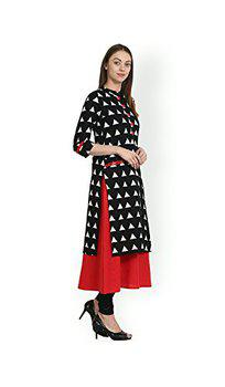 Anjushree Choice Women's Cotton A-Line Kurta (Asc034Bsamosa-L_Black And Red_Large)
