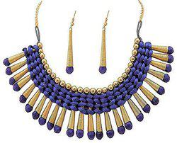 Aabhu Gold Plated Handmade Thread Choker Necklace Jewellery Set With Earring For Women And Girls