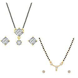 Aabhu Conventional Combo of 2 Mangalsutra with Chain and Stud Earrings Jewellery Set for Women