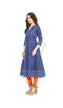 Anjushree Choice Women's Cotton Stitched Anarkali Kurti(Asc034P3Printtt-L_Blue_L - 40)