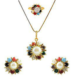 Aaabhu Navratan Stylish Latest Design Party Wear Pendant Necklace Set With Earring, Ring, Chain For Women/Girls