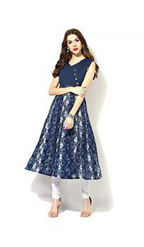 AnjuShree Choice Women Stitched Blue Cotton Anarkali Kurti Kurta (L - 40, Blue)