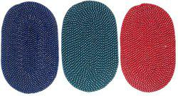 Home Fashion Cotton Door Mat Oval Mat(Multicolor, Medium)