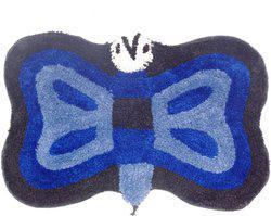 Home Fashion Microfiber Bath Mat Butterfly Blue(Blue, Medium)
