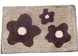 Home Fashion Microfiber Bath Mat Micro Flower Bath Mat(Brown, Medium)