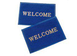 Home Fashion PVC Door Mat Home Fashion Blue Welcome Plastic Medium Door Mat - set of 2(Blue, Medium)