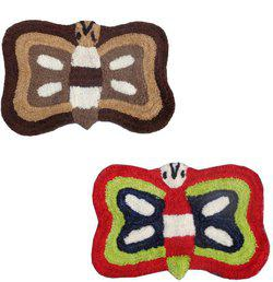 Home Fashion Microfiber Door Mat Home Fashion Multicolor Microfiber Butterfly set of 2 Door Mats(Multicolor, Medium)