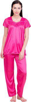 Lesuzaki Women's Solid Pink Sleepshirt