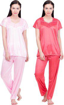Lesuzaki Women's Solid Pink, Red Top & Pyjama Set