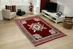 Home text Maroon Velvet Carpet(150 cm  X 210 cm)