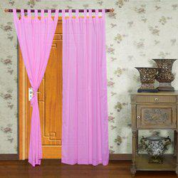 HOME ROYAL Cotton Door Curtain 214 cm (7 ft) Pack of 2(Plain Pink)