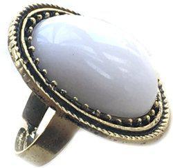 AASHYA MAYRO Retro Vintage White Crystal stone Gold Oxidised Designer Big Adjustable Alloy Cubic Zirconia Brass Plated Ring
