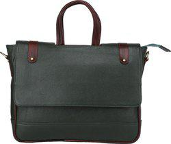 Bharat Leather Emporium 15 inch Expandable Laptop Messenger Bag(Green)