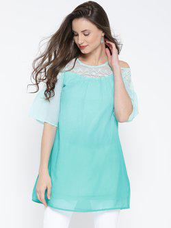 109F Turquoise Blue Ombre-Dyed Cold Shoulder Tunic