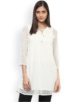 109F White Lace Tunic