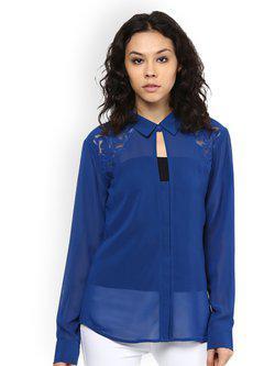 109F Women Blue Solid Semi-Sheer Top